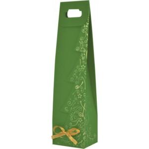 Papierová taška na víno zelená s tlačou