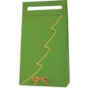 Papierová taška na 3 vína zelená so zlatým lemom