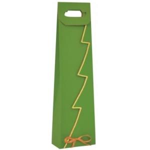 Papierová taška na víno zelená so zlatým lemom